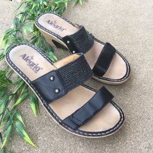 Alegria Leather Double Strap Wedge Sandal